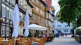 Bobilparkering i Goslar på vei gjennom Tyskland