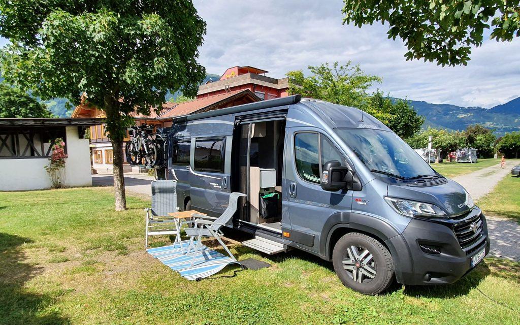 Vår plass på Comfort Falken Camping i Lienz
